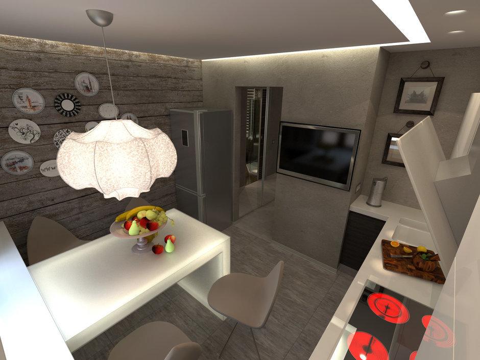 Фотография: Кухня и столовая в стиле Прованс и Кантри, Современный, Малогабаритная квартира, Квартира, Дома и квартиры – фото на InMyRoom.ru