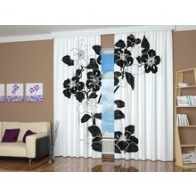 3D шторы: Черный цветок