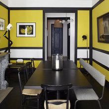 Фотография: Кухня и столовая в стиле Современный, Декор интерьера, Квартира, Цвет в интерьере, Дома и квартиры, Камин, Стены, Свечи, Черный, Диван – фото на InMyRoom.ru