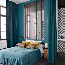 Фотография: Спальня в стиле Скандинавский, Квартира, Цвет в интерьере, Дома и квартиры, Париж, Бирюзовый – фото на InMyRoom.ru