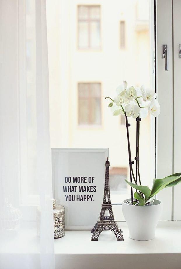 Фотография:  в стиле , Декор интерьера, Квартира, Декор, Советы, Подоконник, Окно – фото на InMyRoom.ru