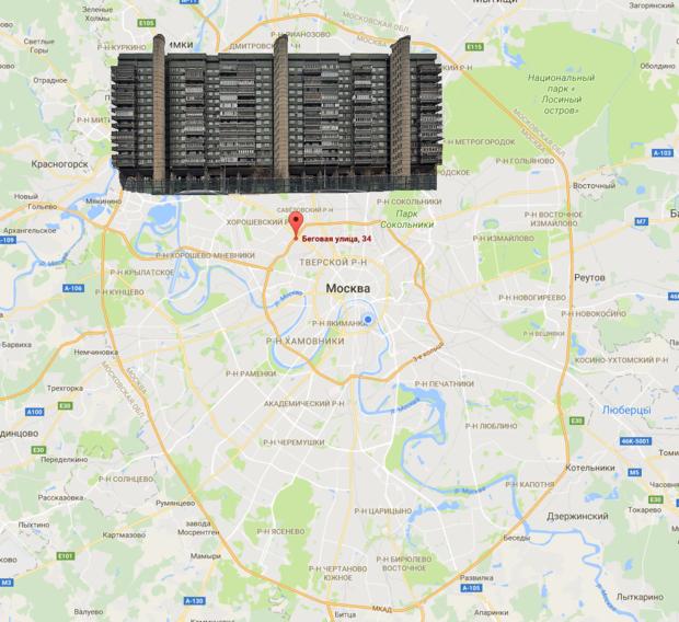 «Дом авиаторов» на карте Москвы