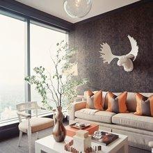 Фотография: Гостиная в стиле Классический, Скандинавский, Современный, Декор интерьера, Дизайн интерьера, Цвет в интерьере, Оранжевый – фото на InMyRoom.ru