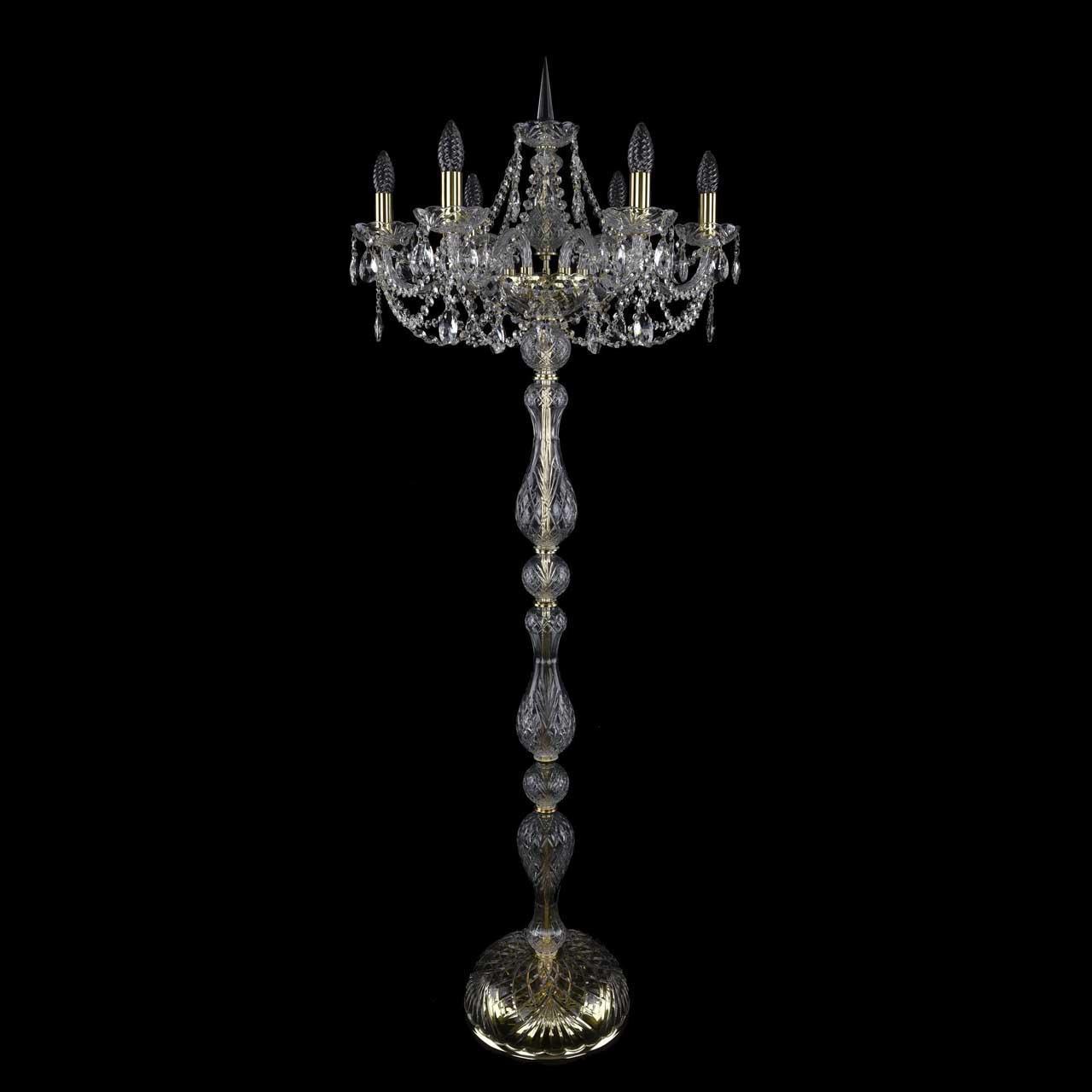Торшер в виде свечей с хрустальными подвесками