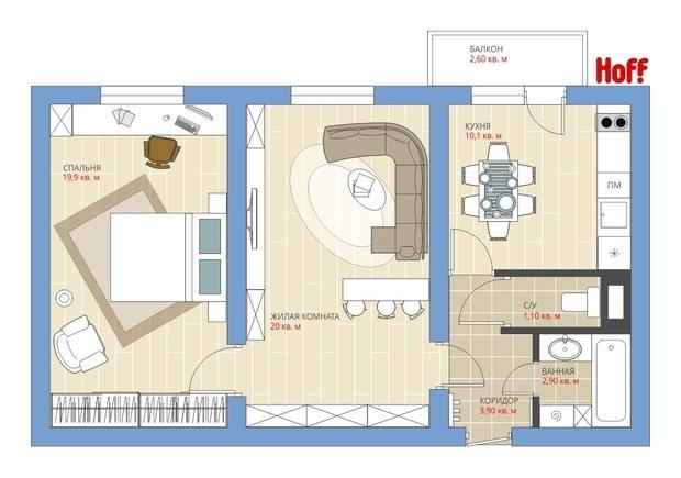 Фотография:  в стиле , Квартира, Планировки, HOFF, Перепланировка, HOFF, КОПЭ, Анастасия Киселева, Панельный дом, 2 комнаты, 40-60 метров – фото на InMyRoom.ru