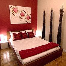 Фотография: Спальня в стиле Минимализм, Декор интерьера, Дизайн интерьера, Цвет в интерьере, Стены – фото на InMyRoom.ru