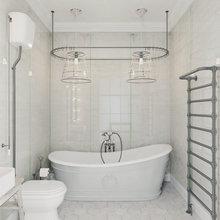 Фотография: Ванная в стиле Лофт, Квартира, Цвет в интерьере, Дома и квартиры, Белый – фото на InMyRoom.ru