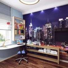 Фотография: Офис в стиле Современный, Квартира, Цвет в интерьере, Дома и квартиры, Белый, Красный, Серый – фото на InMyRoom.ru