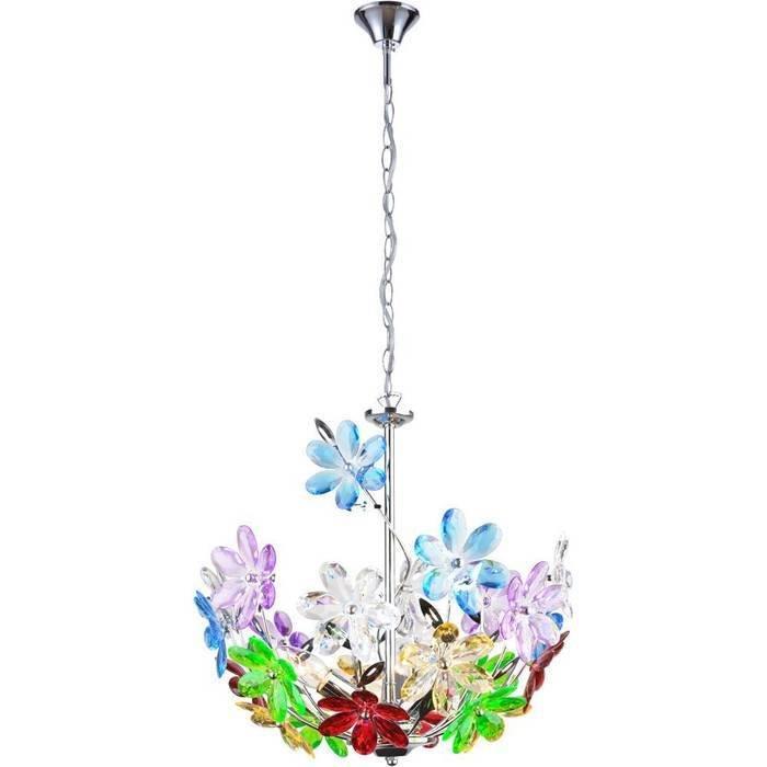 """Подвесная люстра GLOBO """"Rainbow"""" с декоративным плафоном из цветов"""