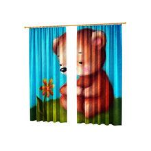 Фотошторы для детской комнаты: Медвежонок с цветком
