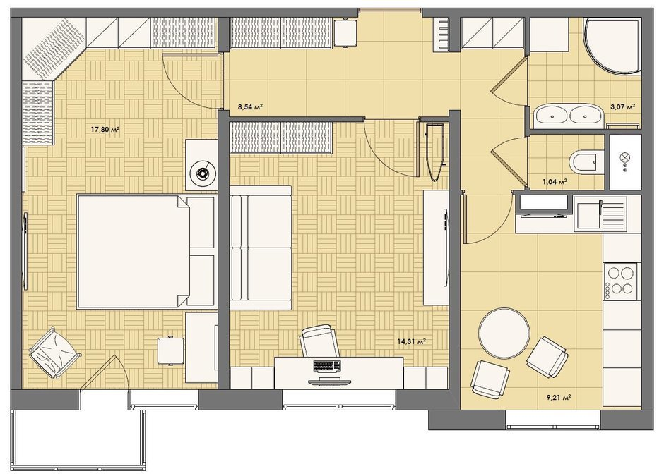 Фотография: Планировки в стиле , Квартира, Дома и квартиры – фото на InMyRoom.ru
