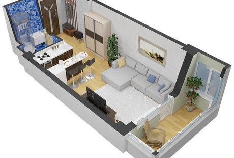 Как расположить кровать,помимо дивана в студии 30 м?