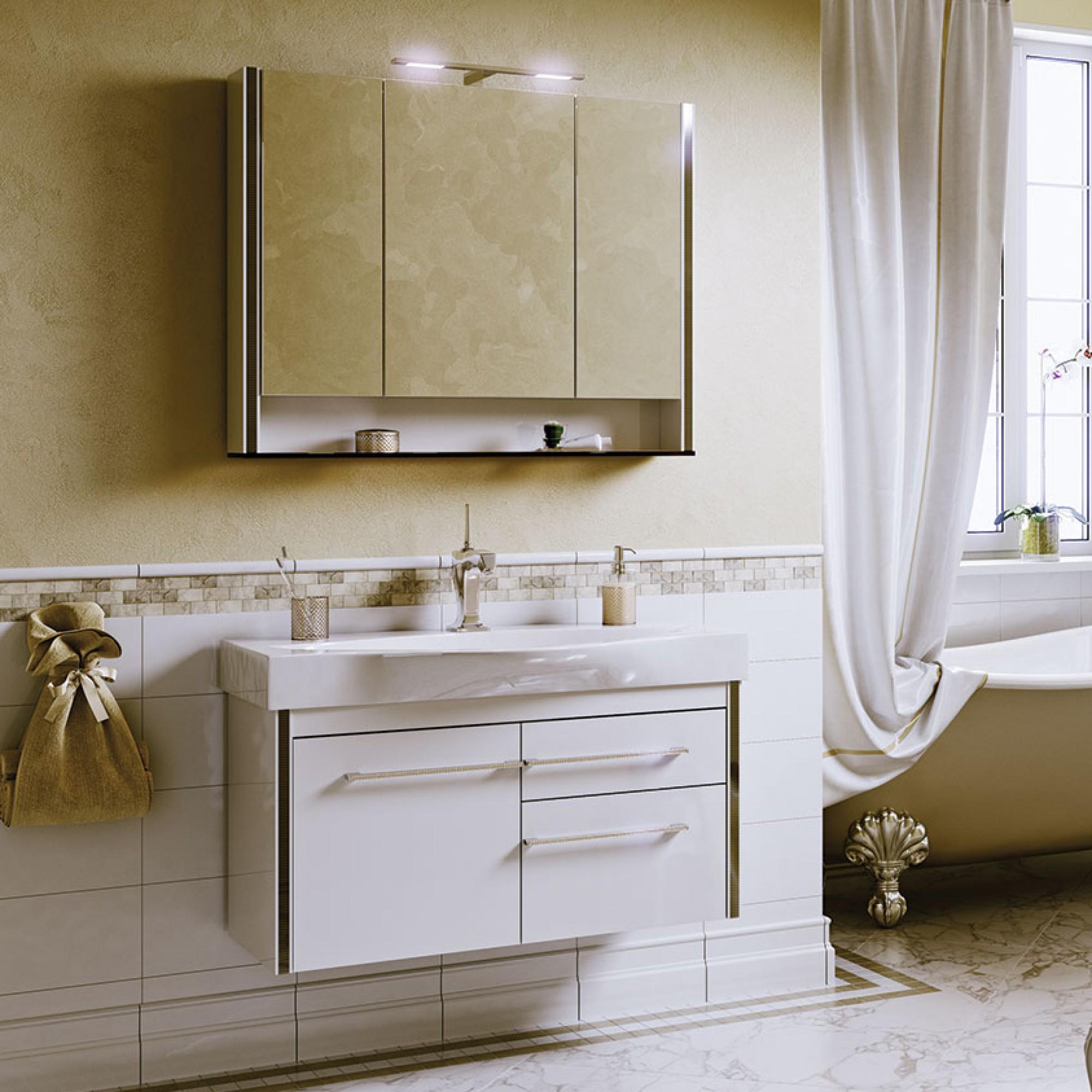 Гарнитур Layra 100 (шкаф зеркальный, тумба с раковиной) белая