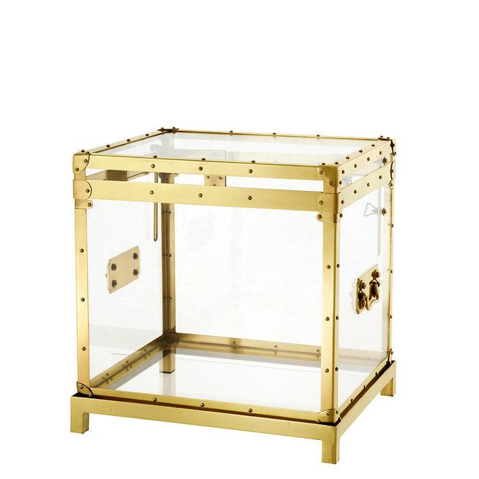 """Прозрачный сундук Eichholtz """"Flightcase"""" с металлическим каркасом золотого цвета 52x55x48 см"""