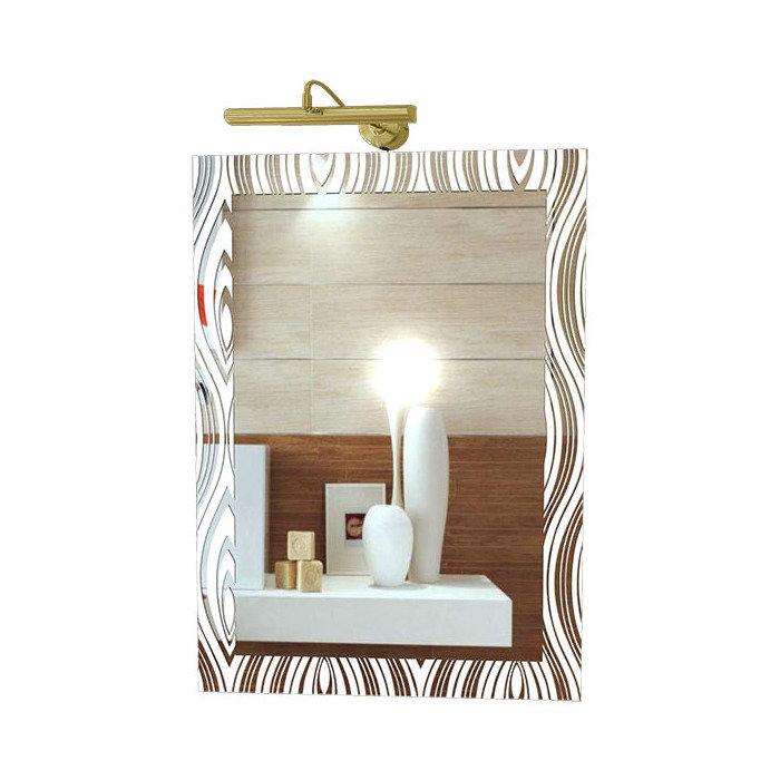 """Зеркало со светильником, принт """"Белый Павлин"""""""
