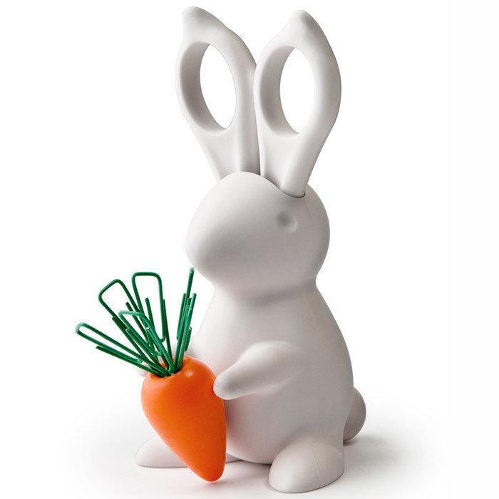 Ножницы+магнит со скрепками bunny белый