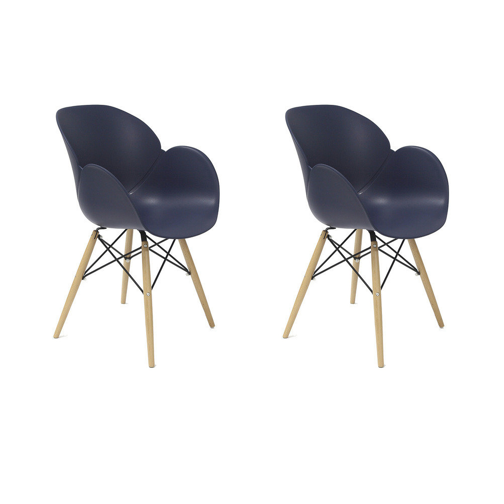 Купить Набор из двух стульев на деревянных ножках синего цвета, inmyroom, Китай