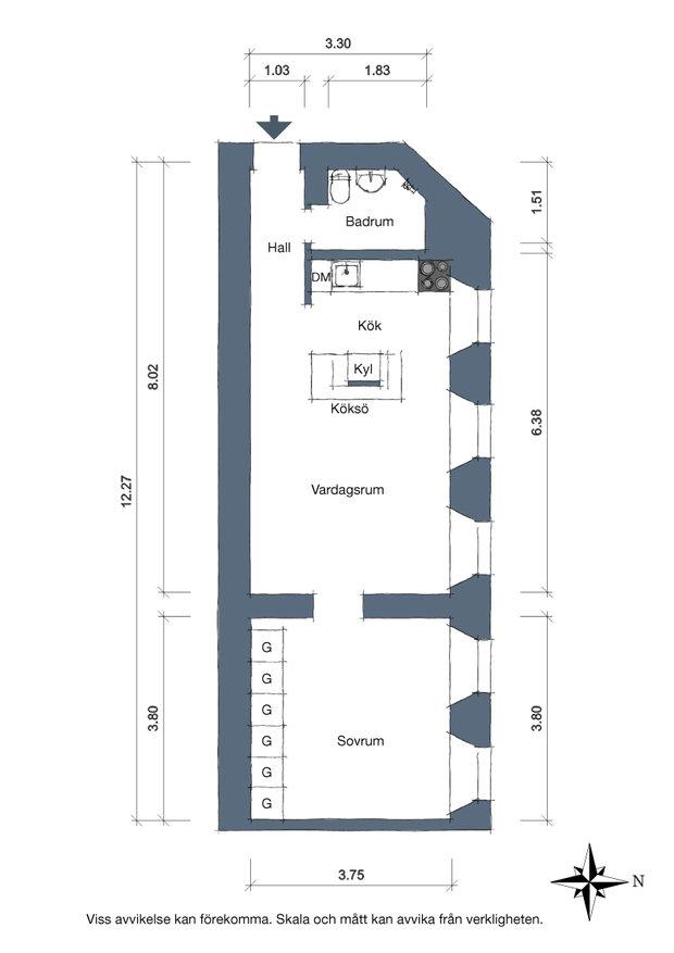Фотография: Планировки в стиле , Скандинавский, Декор интерьера, Квартира, Швеция, 2 комнаты, 40-60 метров, Alvhem – фото на InMyRoom.ru