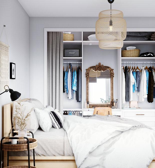 Фотография: Спальня в стиле Скандинавский, Квартира, Проект недели, Санкт-Петербург, 1 комната, 40-60 метров, Монолитно-кирпичный, Студия 20:18 – фото на INMYROOM