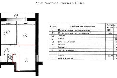 Перепланировка в 2-комнатной квартире, дом серии П-68