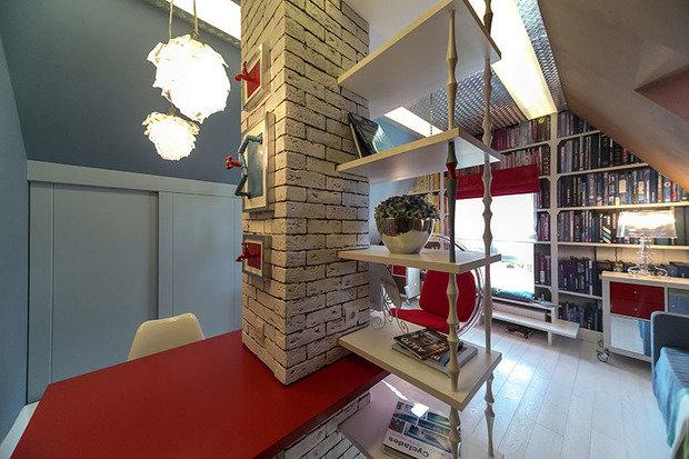 Фотография: Офис в стиле Лофт, Современный, Спальня, Интерьер комнат, Дача, Дачный ответ, Библиотека, Мансарда – фото на InMyRoom.ru
