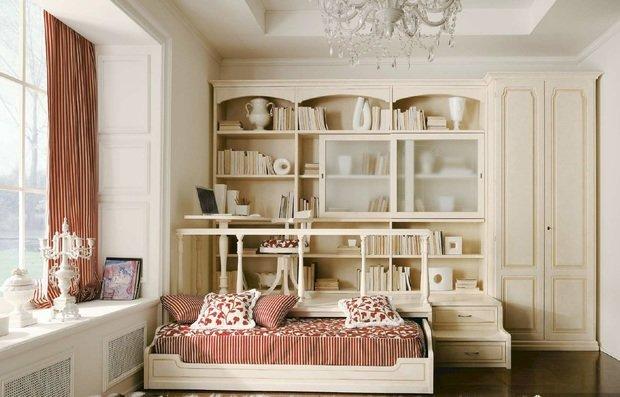 Фотография: Спальня в стиле Прованс и Кантри, Классический, Современный, Детская, Декор интерьера, Мебель и свет, Кровать, Подиум – фото на InMyRoom.ru