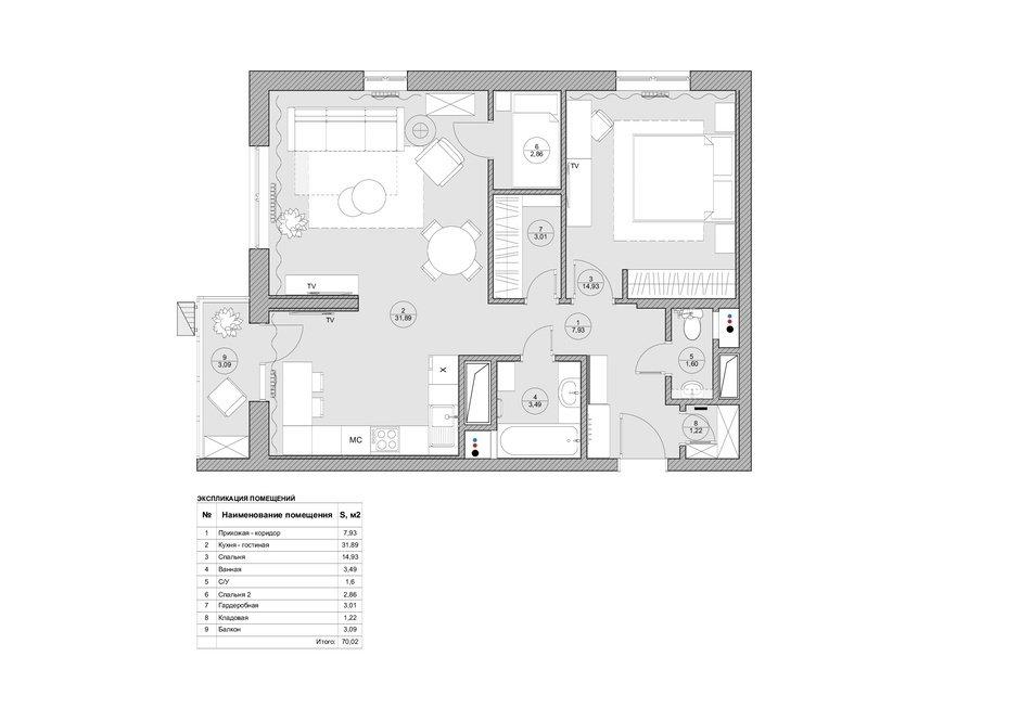 Фотография: Планировки в стиле , Квартира, Проект недели, Москва, Монолитный дом, 2 комнаты, 60-90 метров, Валерия Даньковская, ЖК «Дом на Таганке» – фото на InMyRoom.ru