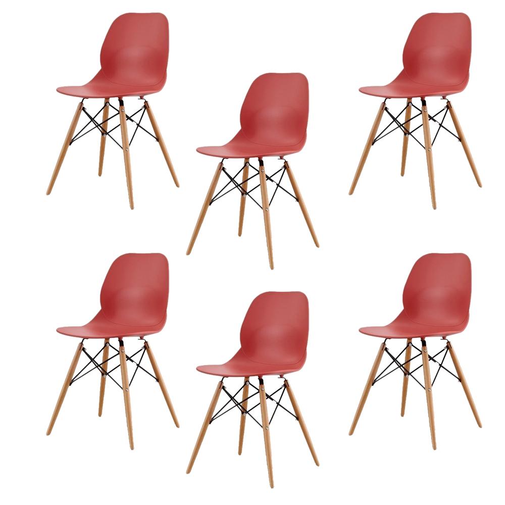 Купить Набор из шести стульев красного цвета на деревянных ножках, inmyroom, Китай