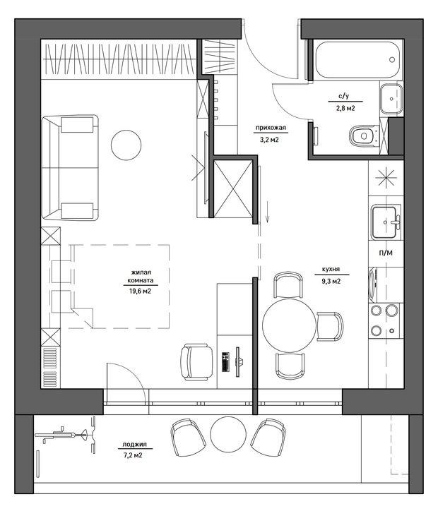 Фотография: Планировки в стиле , Квартира, Перепланировка, Блочный дом, II-68, 1 комната, до 40 метров, Екатерина Саламандра, Бюро «Общая Площадь», Руслан Просвирин, PROSVIRIN DESIGN STUDIO – фото на InMyRoom.ru