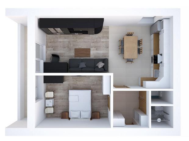 Фотография: Прочее в стиле , Квартира, Планировки, Дома и квартиры, Перепланировка, II-68-03, Блочный дом, 2 комнаты, 40-60 метров – фото на InMyRoom.ru