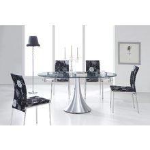 Обеденный стол-трансформер с овальной столешницей из прозрачного стекла