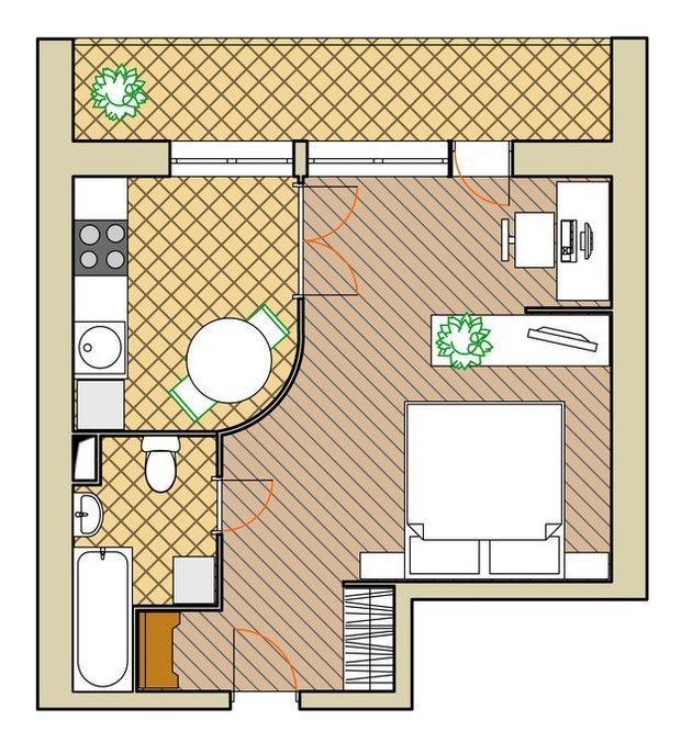Фотография: Прочее в стиле , Квартира, Планировки, Дома и квартиры, Перепланировка, Блочный дом, II-68, 1 комната, до 40 метров – фото на InMyRoom.ru