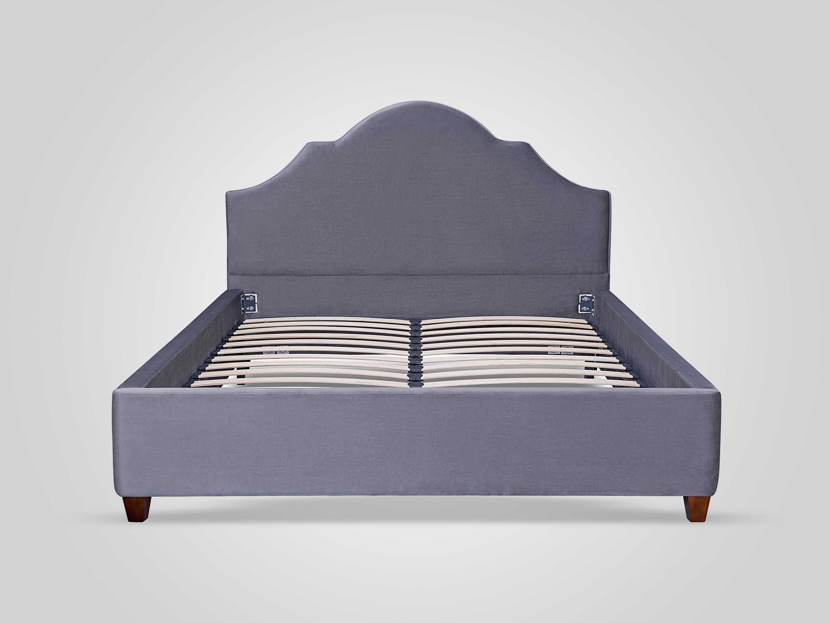 Кровать с обивкой из велюра серого цвета 140x200
