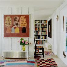 Фотография: Спальня в стиле Скандинавский, Кухня и столовая, Декор интерьера, Декор дома, Цвет в интерьере, Белый, Камин, Бирюзовый – фото на InMyRoom.ru