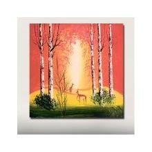 Декоративная картина: Олени на закате
