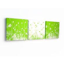 Триптих на холсте: Зеленое поле