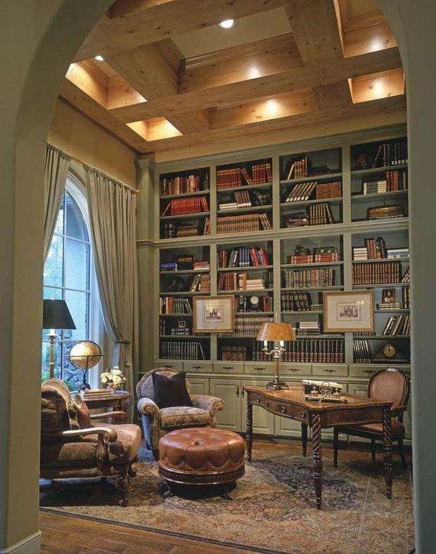 Фотография: Офис в стиле Прованс и Кантри, Хранение, Стиль жизни, Советы, Библиотека – фото на InMyRoom.ru