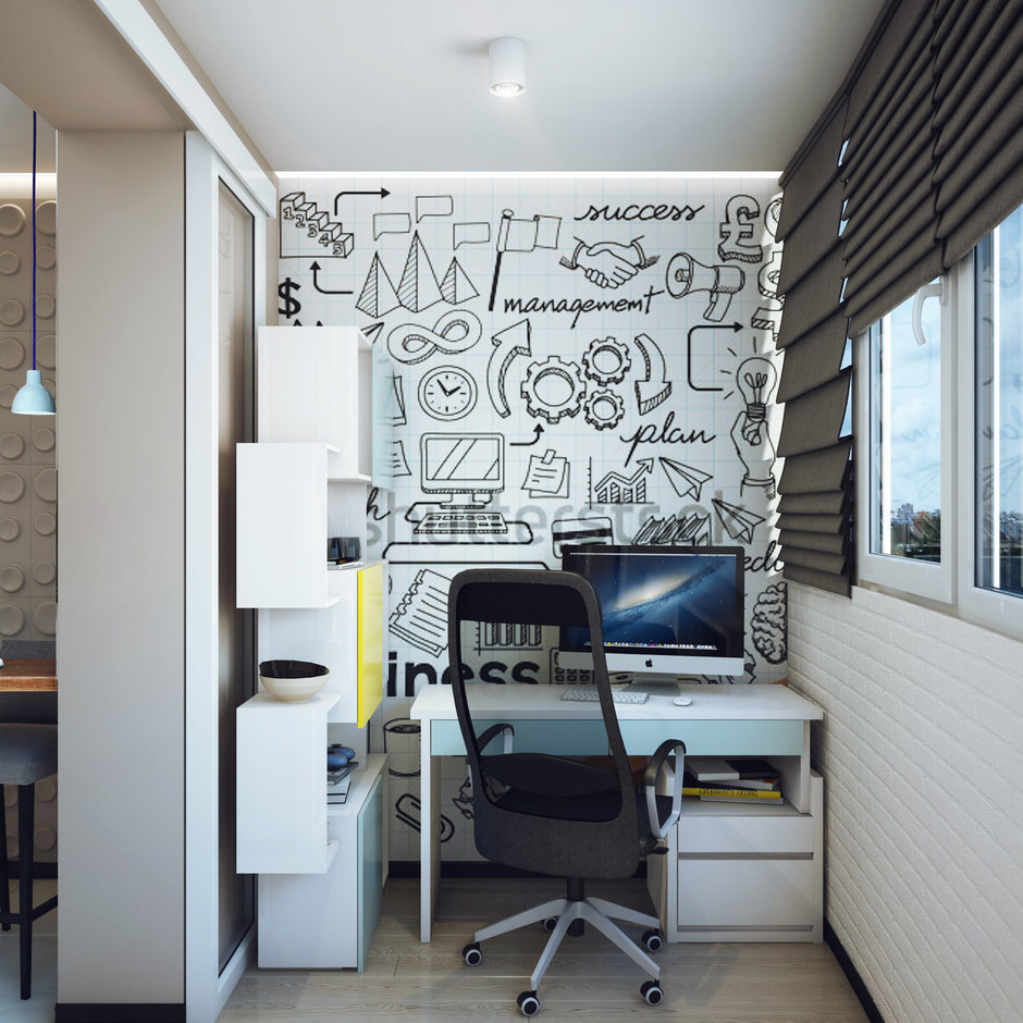 Фотография: Офис в стиле Современный, Малогабаритная квартира, Квартира, Дома и квартиры, Проект недели – фото на InMyRoom.ru