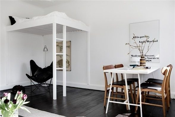 Фотография: Кухня и столовая в стиле Скандинавский, Спальня, Интерьер комнат – фото на InMyRoom.ru