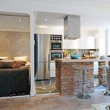 Фотография: Кухня и столовая в стиле Скандинавский, Малогабаритная квартира, Квартира, Дизайн интерьера – фото на InMyRoom.ru