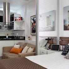 Фотография: Спальня в стиле Современный, Малогабаритная квартира, Квартира, Дизайн интерьера – фото на InMyRoom.ru