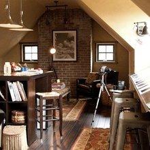 Фотография: Кухня и столовая в стиле Кантри, Кабинет, Интерьер комнат, Мансарда – фото на InMyRoom.ru