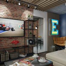 Фото из портфолио Лондонский паб. Дизайн однокомнатной  квартиры в панельном доме для семьи с маленькой дочкой – фотографии дизайна интерьеров на INMYROOM