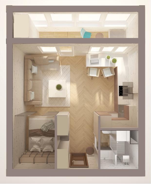 Дизайн двухкомнатной квартиры и-209а