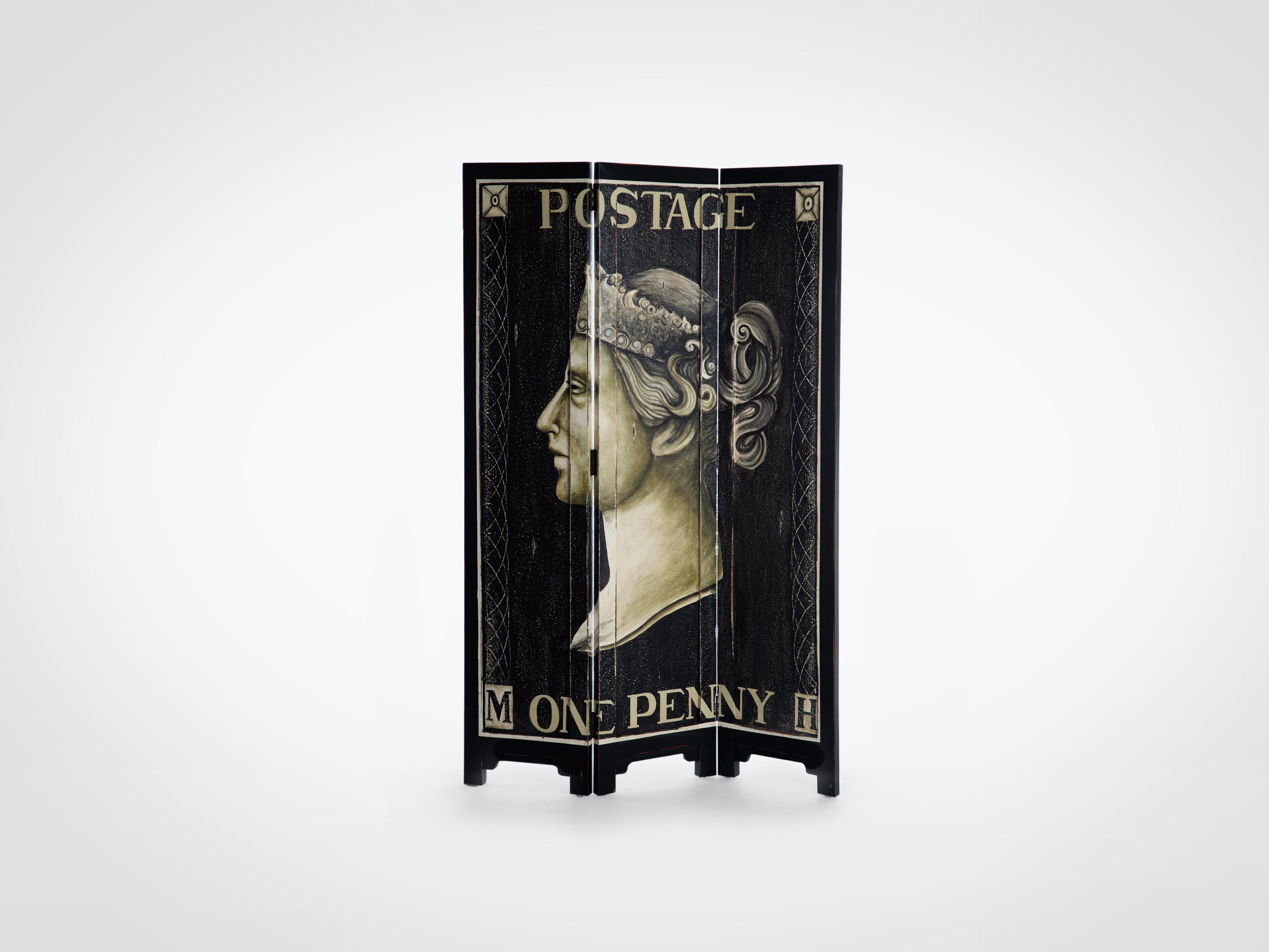 Купить Ширма расписная с изображением первой в истории почтовой марки 183x120x3 см, inmyroom, Индонезия