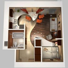 Фото из портфолио Планировка маленьких квартир – фотографии дизайна интерьеров на InMyRoom.ru