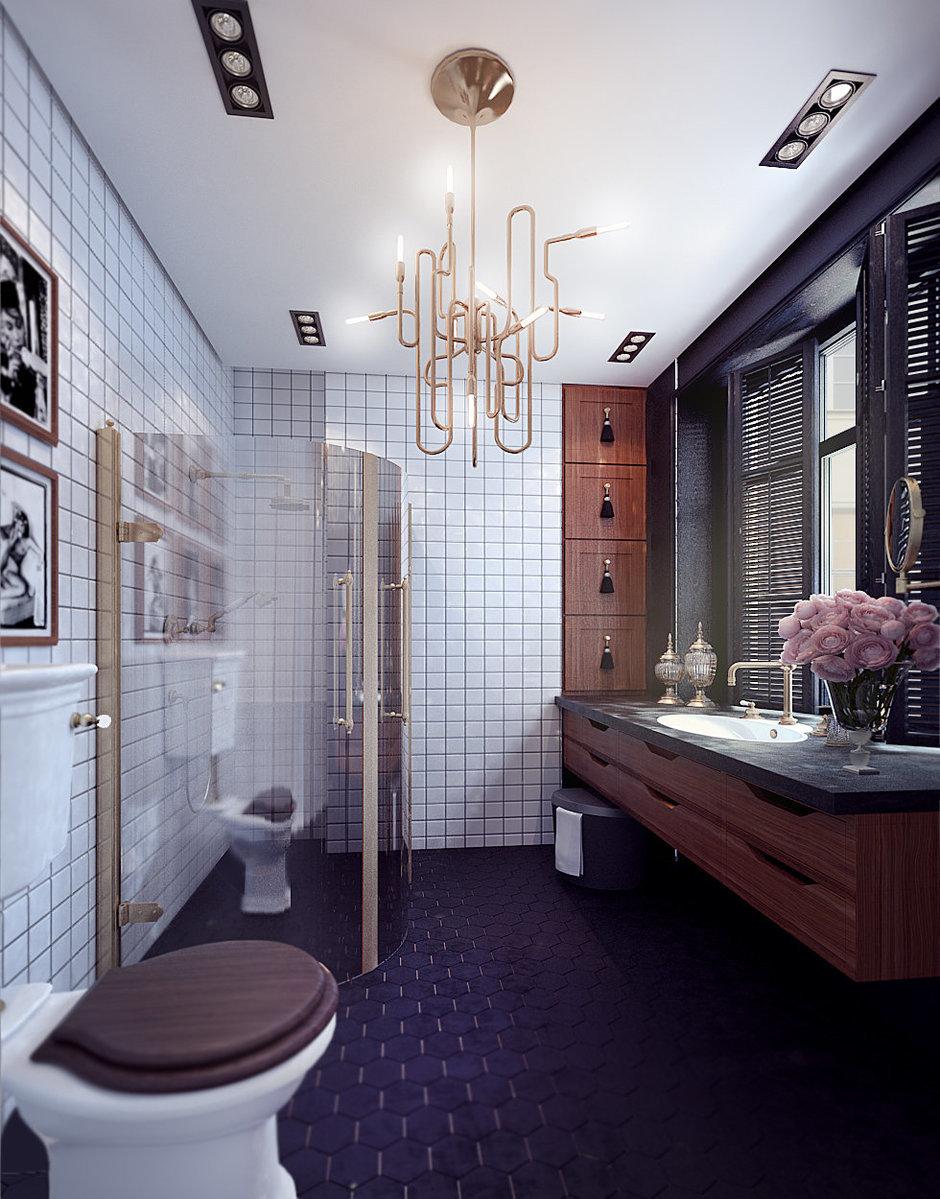 Фотография: Ванная в стиле Восточный, Квартира, Дома и квартиры, Проект недели, Ар-деко – фото на InMyRoom.ru