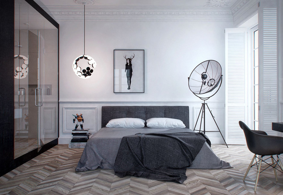 Фотография: Спальня в стиле Лофт, Современный, Скандинавский, Квартира, Минимализм, Проект недели – фото на InMyRoom.ru