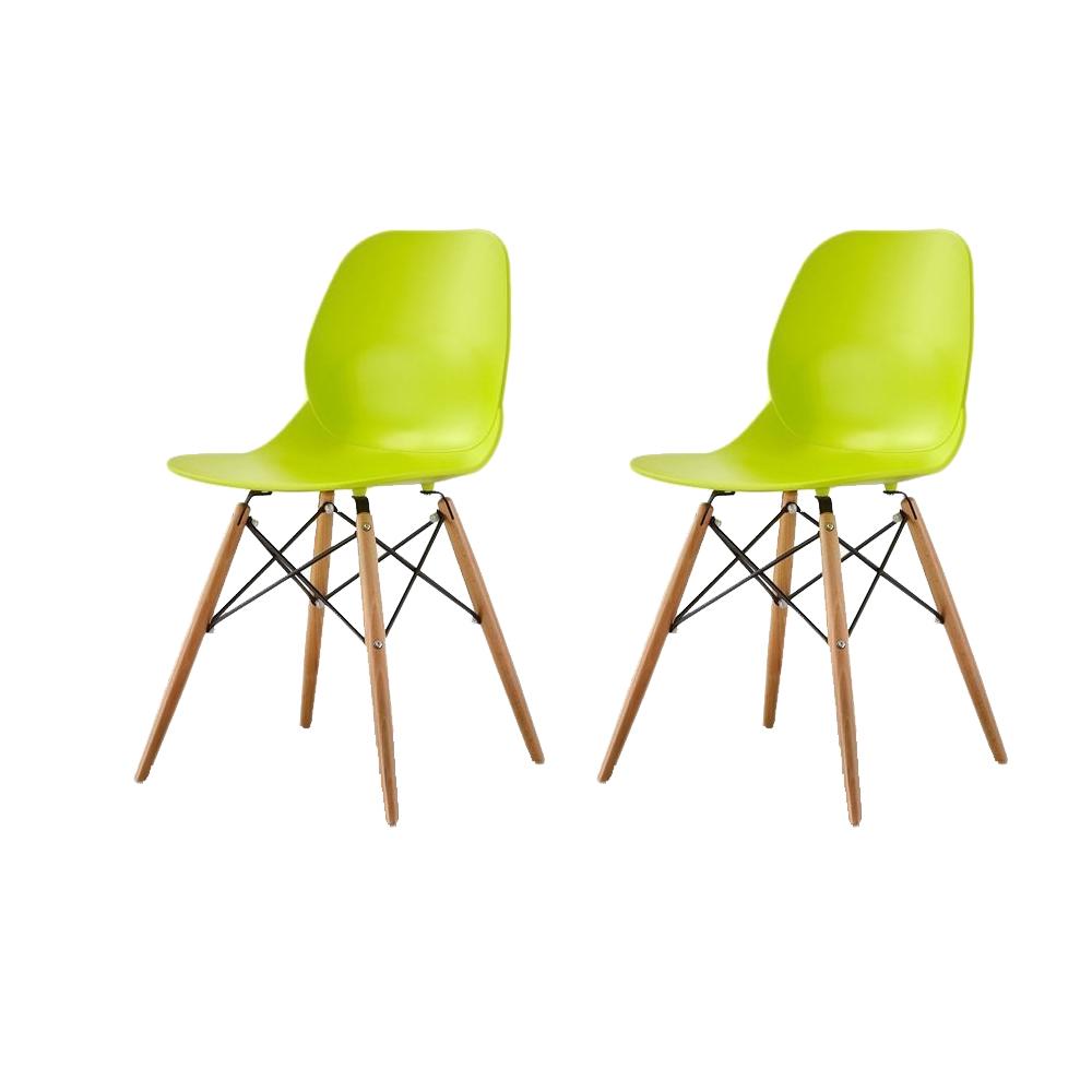 Купить Набор из двух стульев лаймового цвета на деревянных ножках, inmyroom, Китай