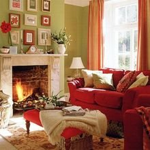Фотография: Гостиная в стиле Кантри, Интерьер комнат, Мебель и свет, Диван, Потолок – фото на InMyRoom.ru